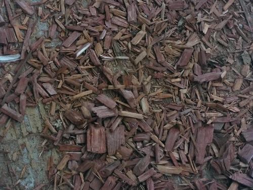 Pedaços de madeira espalhados no chão de forma caótica